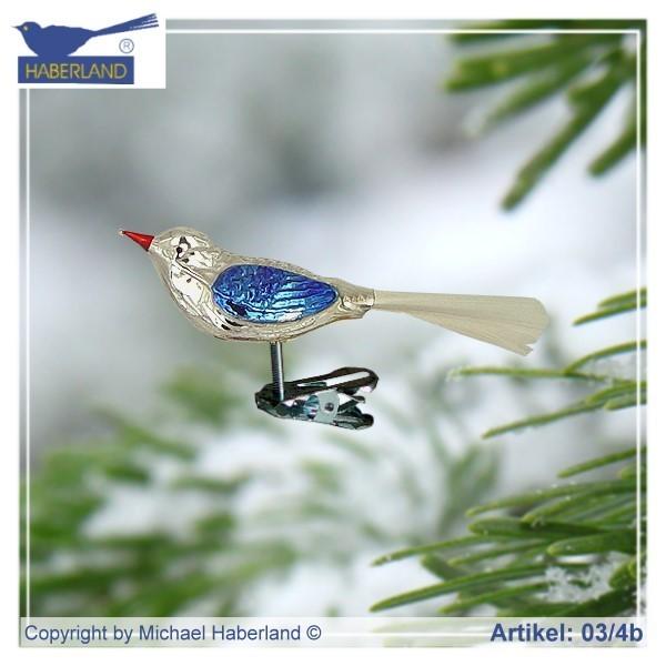 Vogel Blau Figur Glas Handarbeit Unikat Linus Hundeglueck