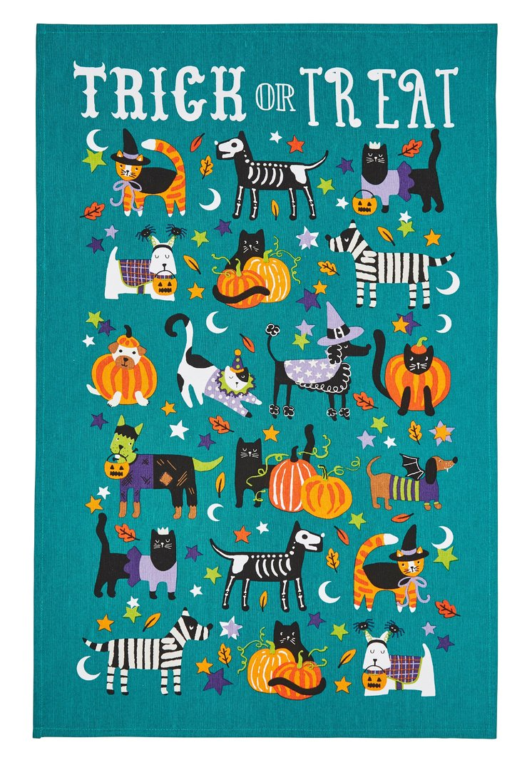 Dog Cat Trick Treat Tea Towel Ulster Weavers