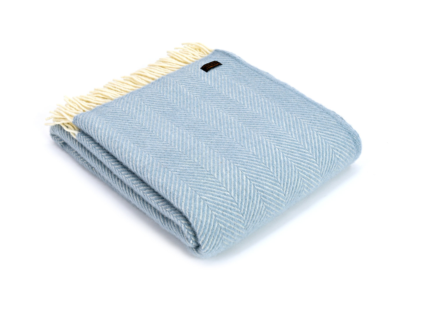 Decke Fishbone blau New Pure Wool Tweedmill